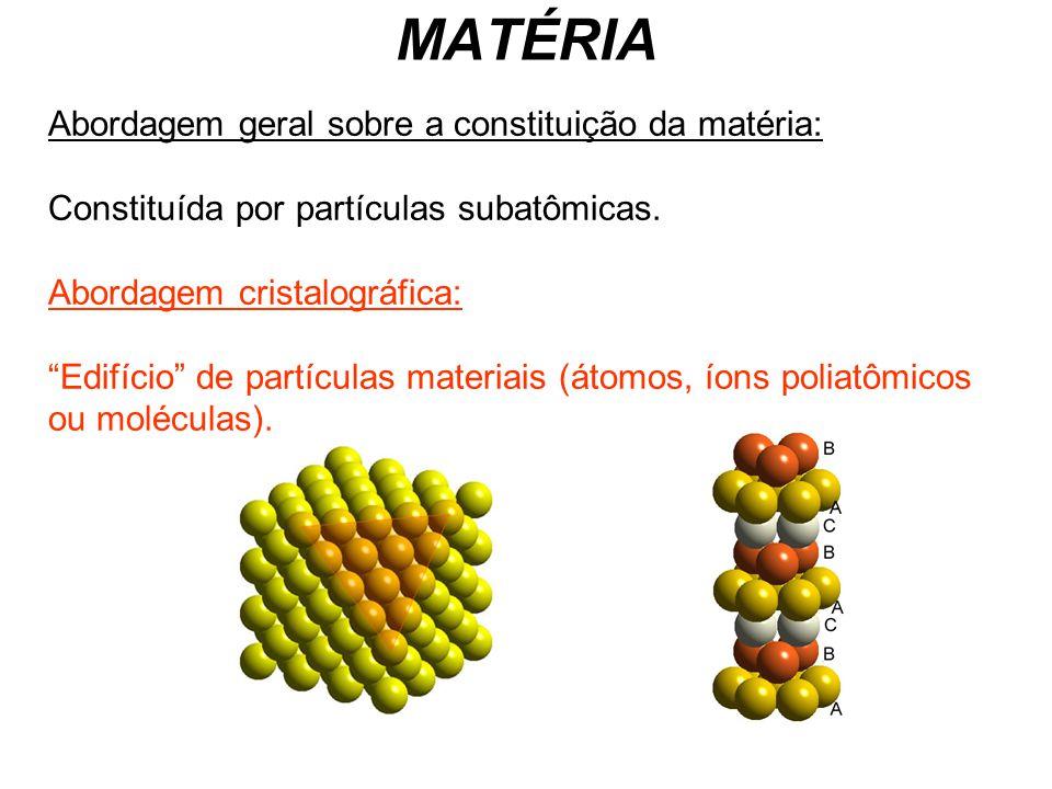 MATÉRIA Abordagem geral sobre a constituição da matéria: Constituída por partículas subatômicas. Abordagem cristalográfica: Edifício de partículas mat