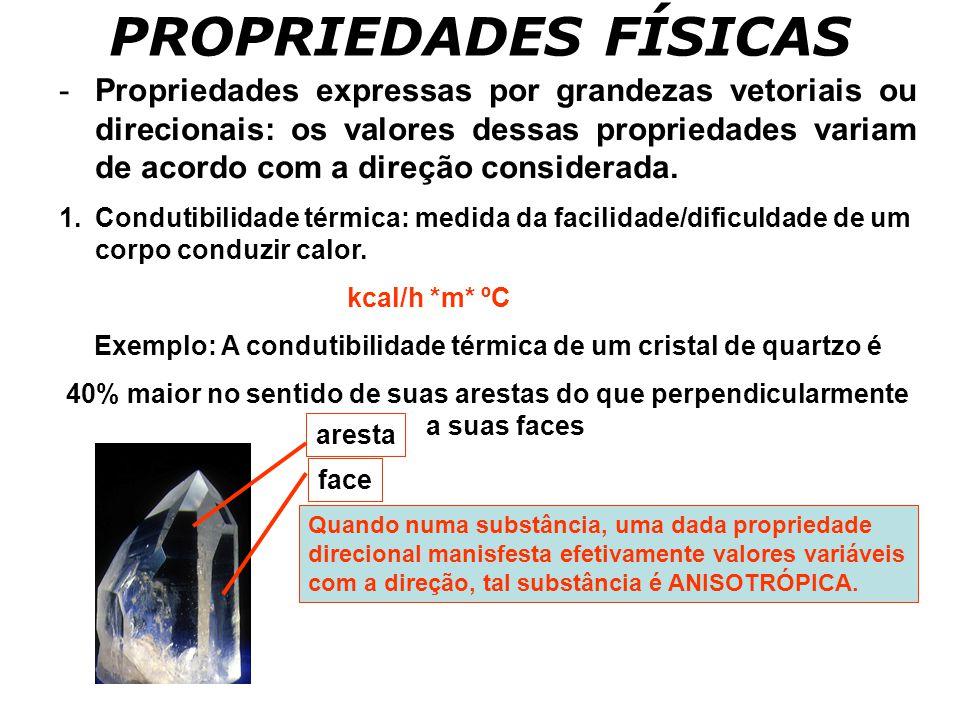 PROPRIEDADES FÍSICAS -Propriedades expressas por grandezas vetoriais ou direcionais: os valores dessas propriedades variam de acordo com a direção con