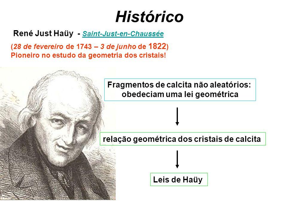 Histórico (28 de fevereiro de 1743 – 3 de junho de 1822 ) Pioneiro no estudo da geometria dos cristais! René Just Haüy - Saint-Just-en-Chaussée Saint-
