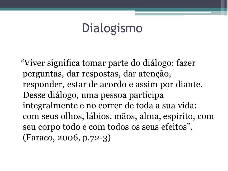 Dialogismo Viver significa tomar parte do diálogo: fazer perguntas, dar respostas, dar atenção, responder, estar de acordo e assim por diante. Desse d