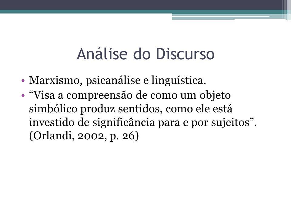 Análise do Discurso Marxismo, psicanálise e linguística. Visa a compreensão de como um objeto simbólico produz sentidos, como ele está investido de si