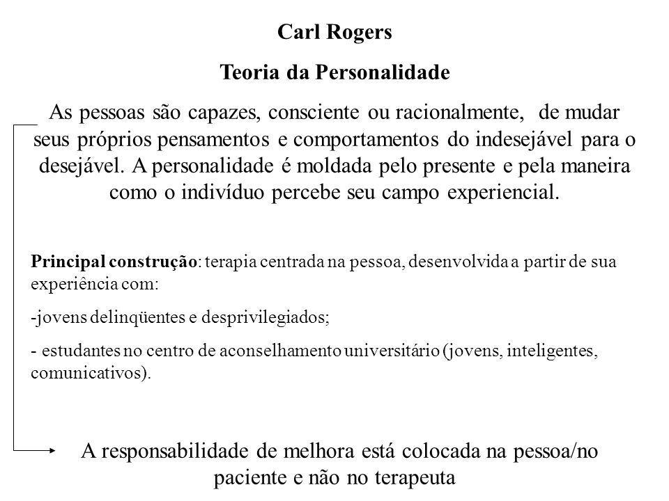 Carl Rogers Teoria da Personalidade As pessoas são capazes, consciente ou racionalmente, de mudar seus próprios pensamentos e comportamentos do indese