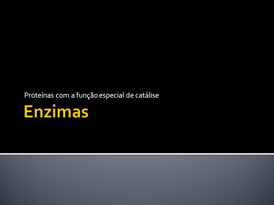 Enzimas são proteínas sintetizadas pela própria célula Aceleram reações termodinamicamente possíveis Não alteram a constante de equilíbrio Como catalisadores, operam em concentrações muito baixas quando comparados com o substrato