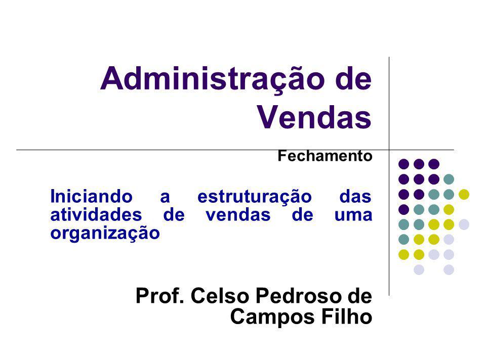 Administração de Vendas Fechamento Iniciando a estruturação das atividades de vendas de uma organização Prof.