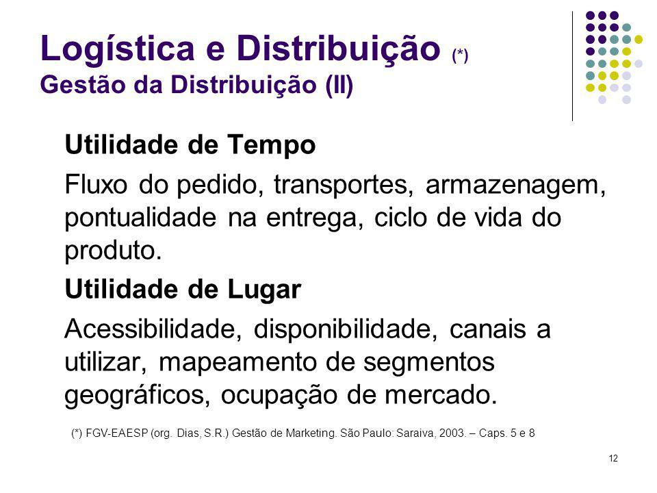 12 Logística e Distribuição (*) Gestão da Distribuição (II) Utilidade de Tempo Fluxo do pedido, transportes, armazenagem, pontualidade na entrega, ciclo de vida do produto.
