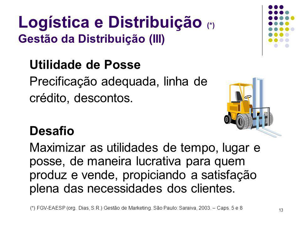 13 Logística e Distribuição (*) Gestão da Distribuição (III) Utilidade de Posse Precificação adequada, linha de crédito, descontos. Desafio Maximizar
