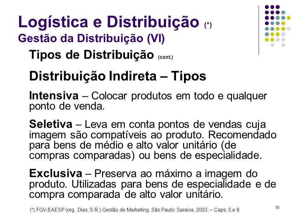 16 Logística e Distribuição (*) Gestão da Distribuição (VI) Tipos de Distribuição (cont.) Distribuição Indireta – Tipos Intensiva – Colocar produtos em todo e qualquer ponto de venda.