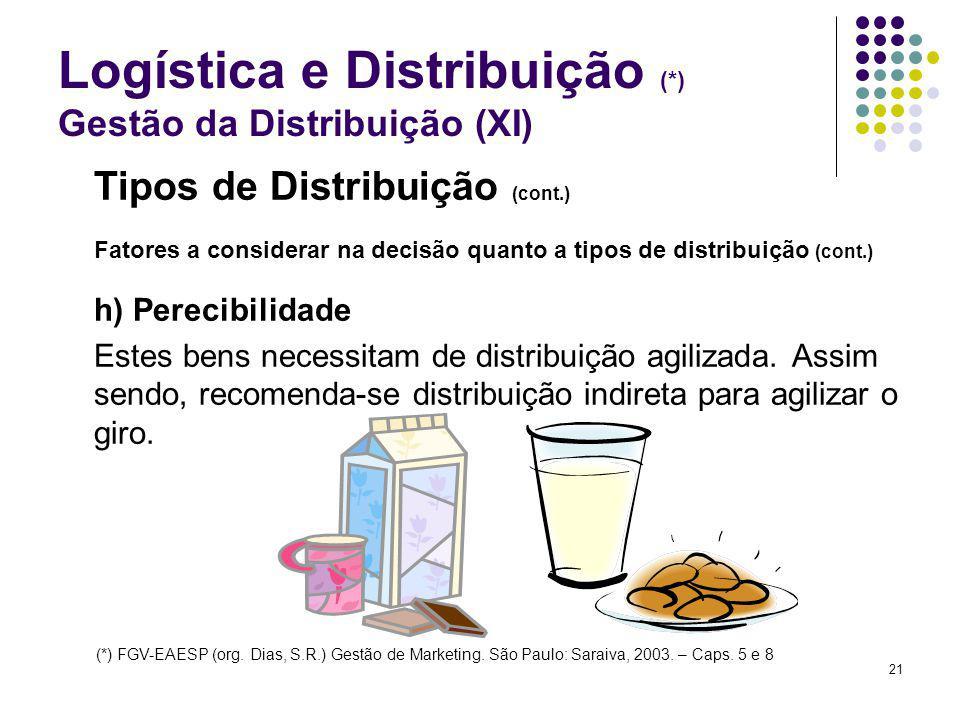 21 Logística e Distribuição (*) Gestão da Distribuição (XI) Tipos de Distribuição (cont.) Fatores a considerar na decisão quanto a tipos de distribuição (cont.) h) Perecibilidade Estes bens necessitam de distribuição agilizada.