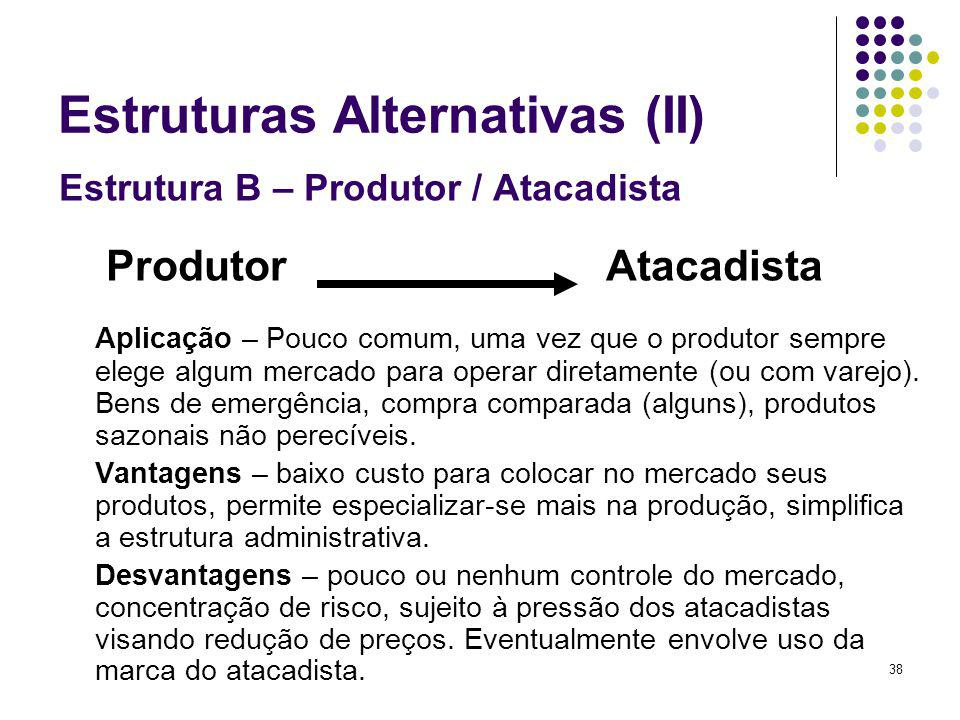 38 Estruturas Alternativas (II) Estrutura B – Produtor / Atacadista Produtor Atacadista Aplicação – Pouco comum, uma vez que o produtor sempre elege algum mercado para operar diretamente (ou com varejo).