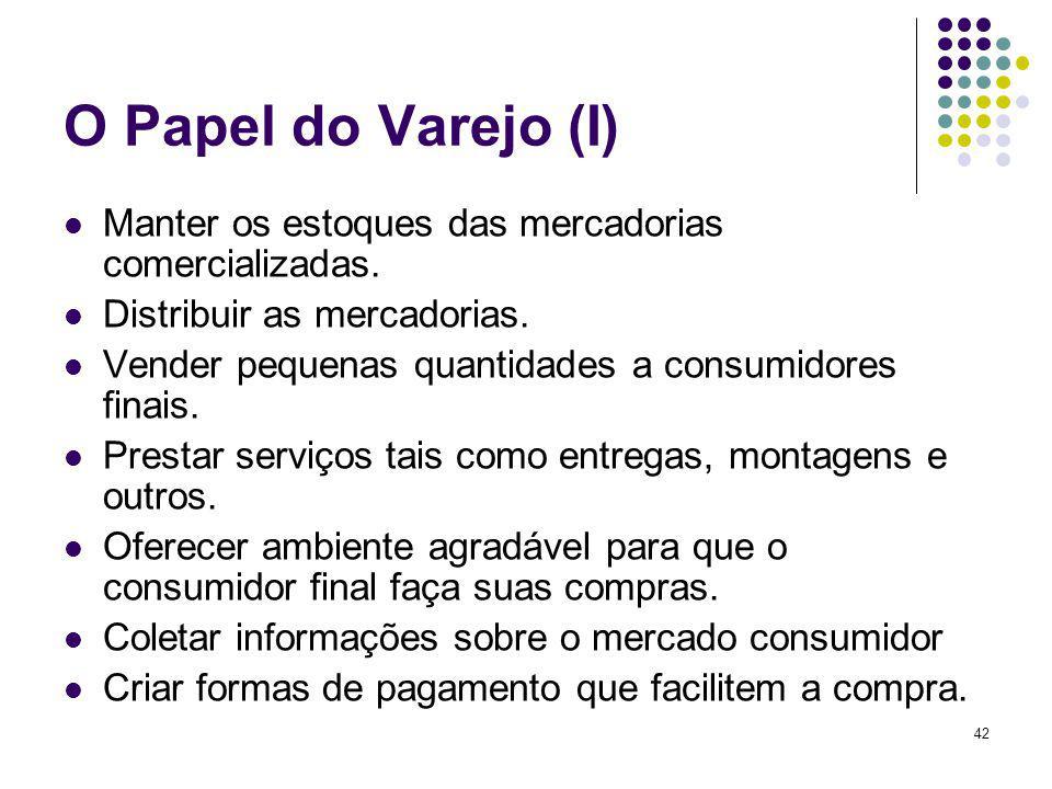 42 O Papel do Varejo (I) Manter os estoques das mercadorias comercializadas.