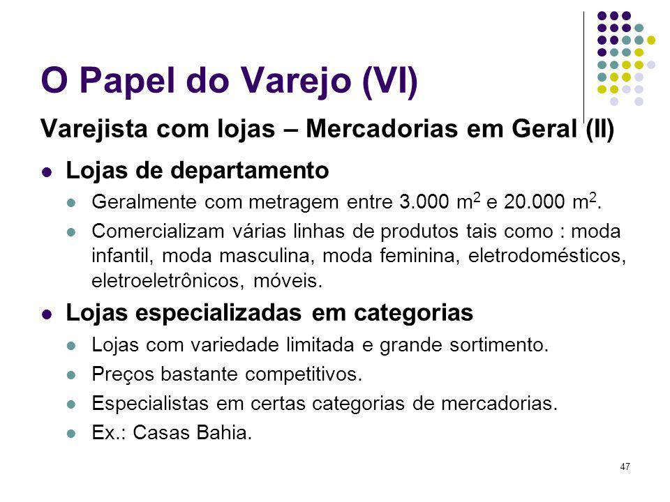 47 O Papel do Varejo (VI) Varejista com lojas – Mercadorias em Geral (II) Lojas de departamento Geralmente com metragem entre 3.000 m 2 e 20.000 m 2.