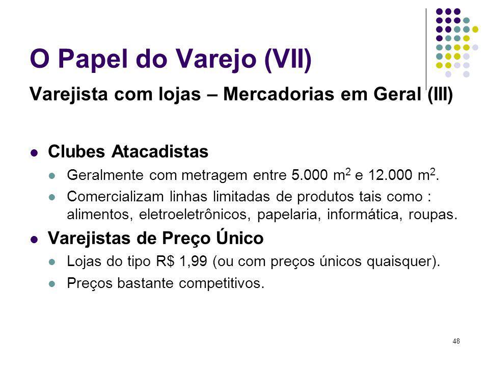 48 O Papel do Varejo (VII) Varejista com lojas – Mercadorias em Geral (III) Clubes Atacadistas Geralmente com metragem entre 5.000 m 2 e 12.000 m 2. C
