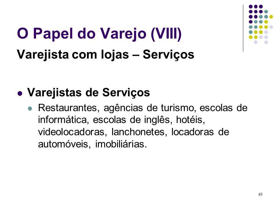 49 O Papel do Varejo (VIII) Varejista com lojas – Serviços Varejistas de Serviços Restaurantes, agências de turismo, escolas de informática, escolas d