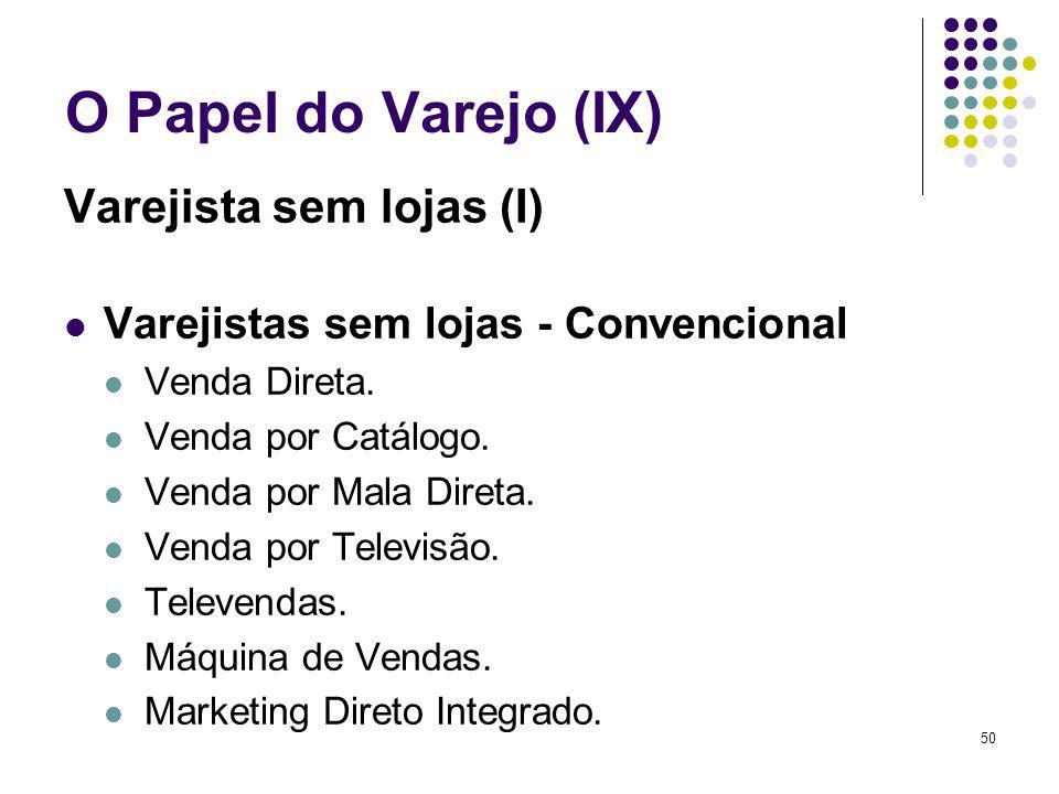 50 O Papel do Varejo (IX) Varejista sem lojas (I) Varejistas sem lojas - Convencional Venda Direta.