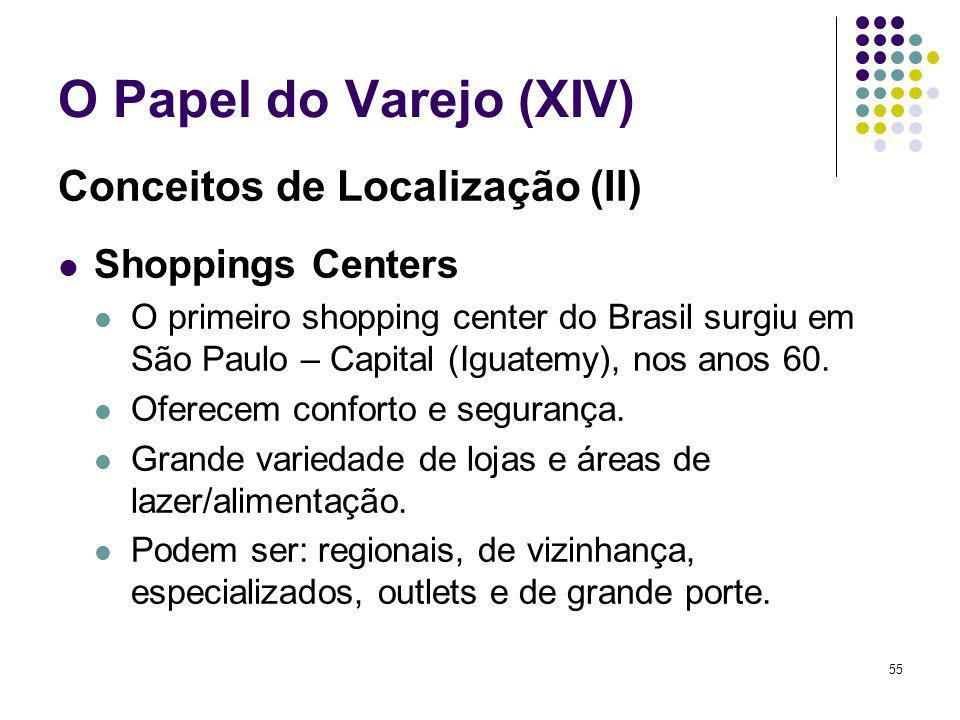 55 O Papel do Varejo (XIV) Conceitos de Localização (II) Shoppings Centers O primeiro shopping center do Brasil surgiu em São Paulo – Capital (Iguatemy), nos anos 60.