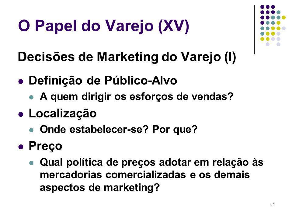 56 O Papel do Varejo (XV) Decisões de Marketing do Varejo (I) Definição de Público-Alvo A quem dirigir os esforços de vendas? Localização Onde estabel