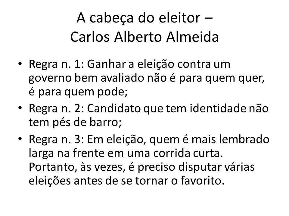 A cabeça do eleitor – Carlos Alberto Almeida Regra n. 1: Ganhar a eleição contra um governo bem avaliado não é para quem quer, é para quem pode; Regra