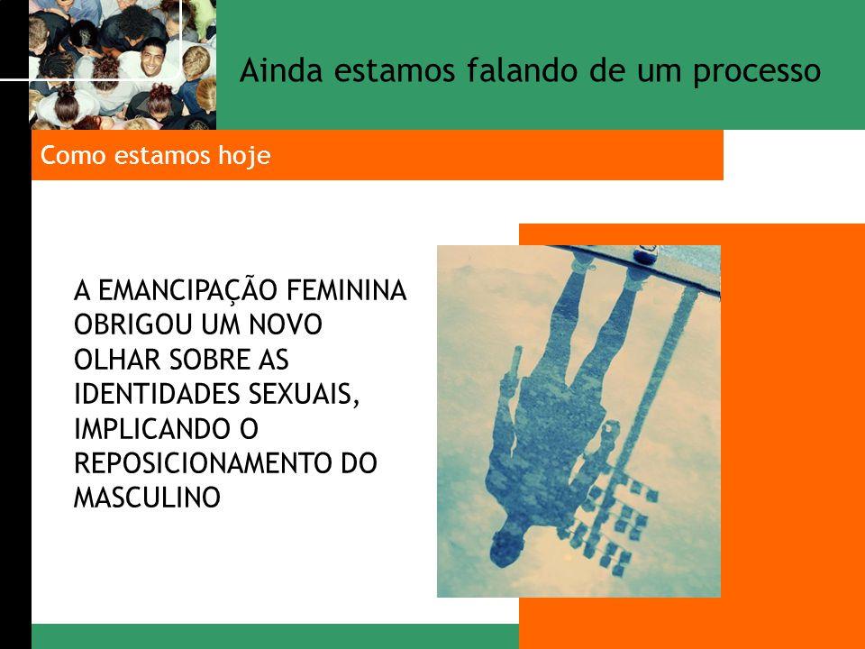 A EMANCIPAÇÃO FEMININA OBRIGOU UM NOVO OLHAR SOBRE AS IDENTIDADES SEXUAIS, IMPLICANDO O REPOSICIONAMENTO DO MASCULINO Como estamos hoje Ainda estamos
