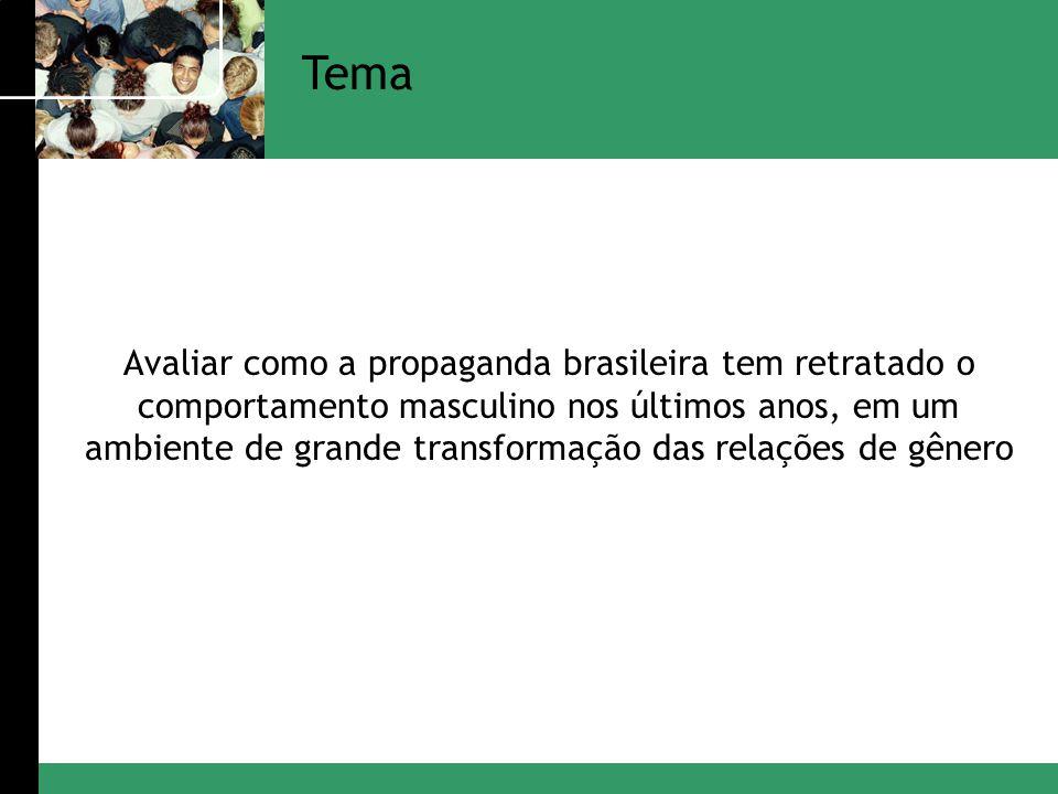 Tema Avaliar como a propaganda brasileira tem retratado o comportamento masculino nos últimos anos, em um ambiente de grande transformação das relaçõe