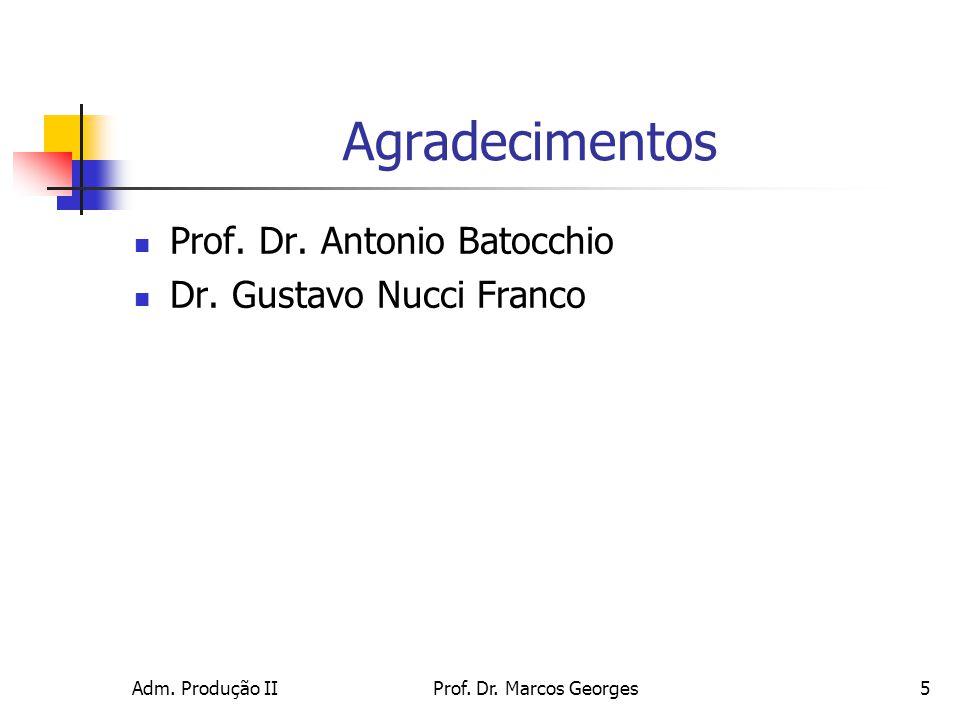 Adm. Produção IIProf. Dr. Marcos Georges5 Agradecimentos Prof. Dr. Antonio Batocchio Dr. Gustavo Nucci Franco