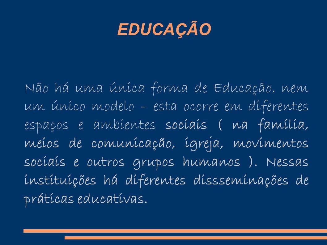 EDUCAÇÃO Não há uma única forma de Educação, nem um único modelo – esta ocorre em diferentes espaços e ambientes sociais ( na família, meios de comunicação, igreja, movimentos sociais e outros grupos humanos ).