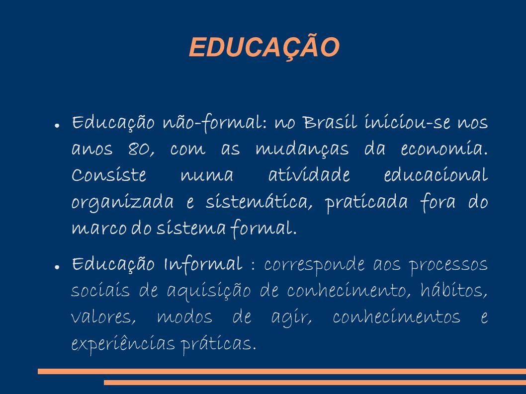 EDUCAÇÃO Educação não-formal: no Brasil iniciou-se nos anos 80, com as mudanças da economia.