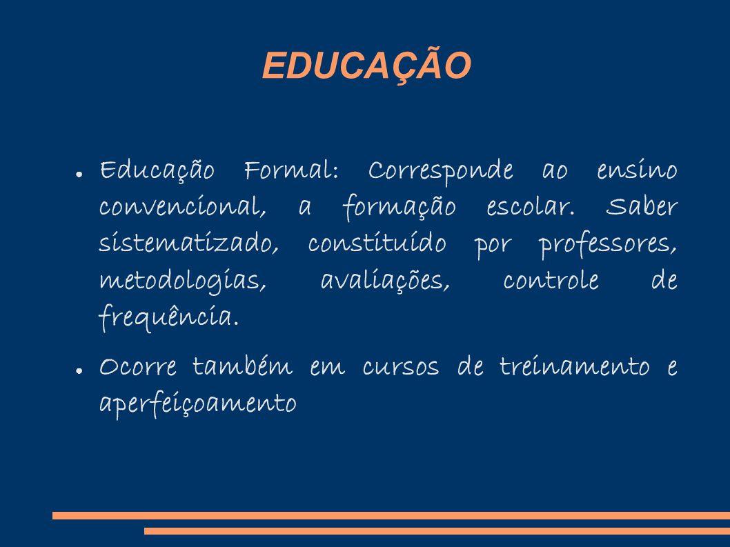 EDUCAÇÃO Educação Formal: Corresponde ao ensino convencional, a formação escolar.