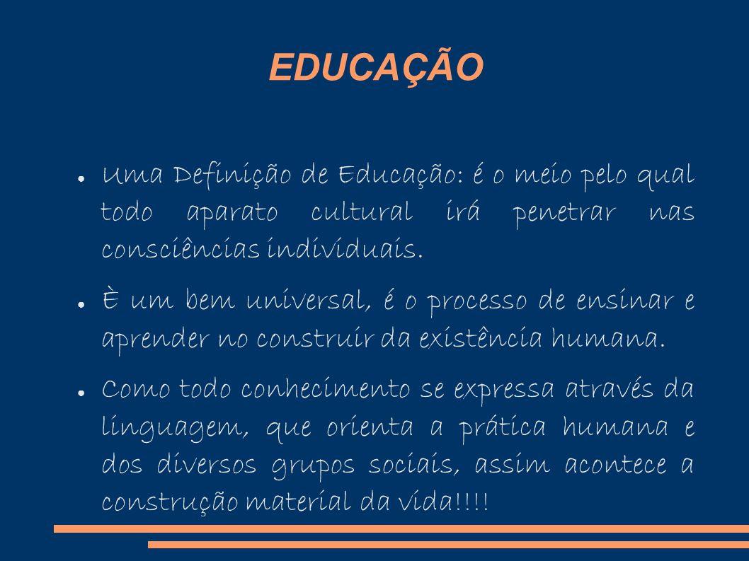 EDUCAÇÃO Uma Definição de Educação: é o meio pelo qual todo aparato cultural irá penetrar nas consciências individuais.