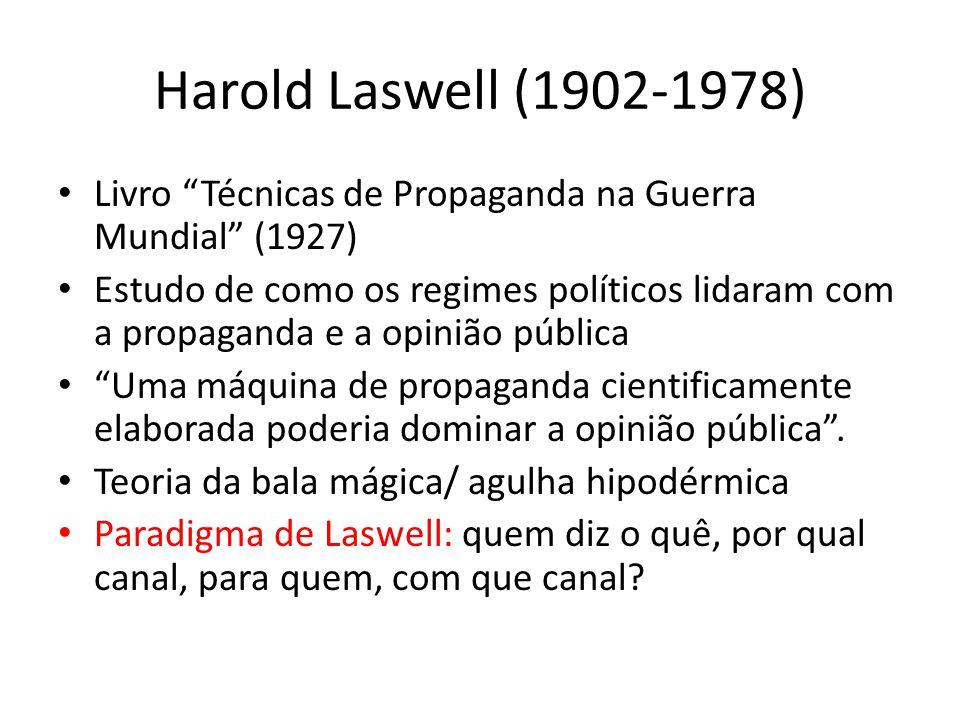 Harold Laswell (1902-1978) Livro Técnicas de Propaganda na Guerra Mundial (1927) Estudo de como os regimes políticos lidaram com a propaganda e a opin