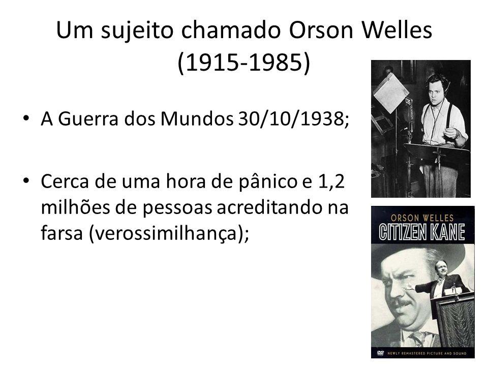 Um sujeito chamado Orson Welles (1915-1985) A Guerra dos Mundos 30/10/1938; Cerca de uma hora de pânico e 1,2 milhões de pessoas acreditando na farsa