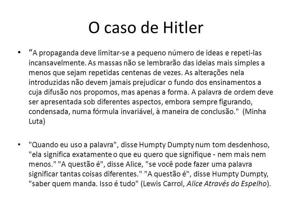 O caso de Hitler A propaganda deve limitar-se a pequeno número de ideas e repeti-las incansavelmente. As massas não se lembrarão das ideias mais simpl