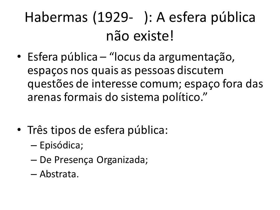 Habermas (1929- ): A esfera pública não existe! Esfera pública – locus da argumentação, espaços nos quais as pessoas discutem questões de interesse co