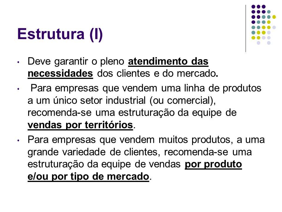 Estrutura (I) Deve garantir o pleno atendimento das necessidades dos clientes e do mercado. Para empresas que vendem uma linha de produtos a um único