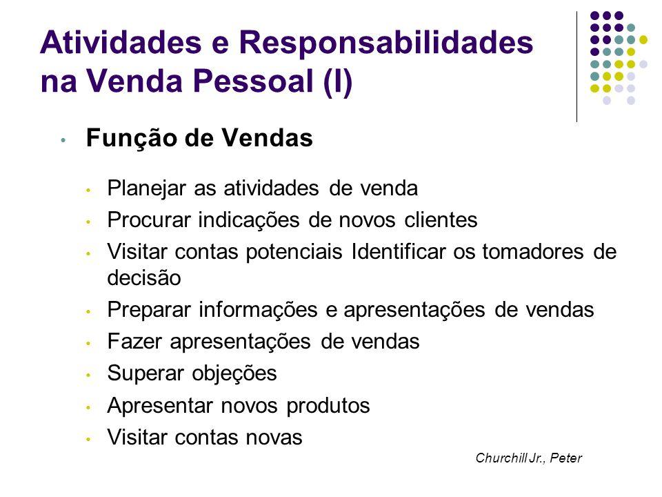 Atividades e Responsabilidades na Venda Pessoal (I) Função de Vendas Planejar as atividades de venda Procurar indicações de novos clientes Visitar con