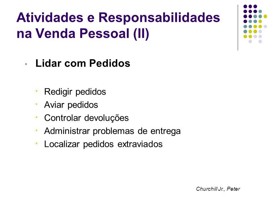 Atividades e Responsabilidades na Venda Pessoal (II) Lidar com Pedidos * Redigir pedidos * Aviar pedidos * Controlar devoluções * Administrar problema