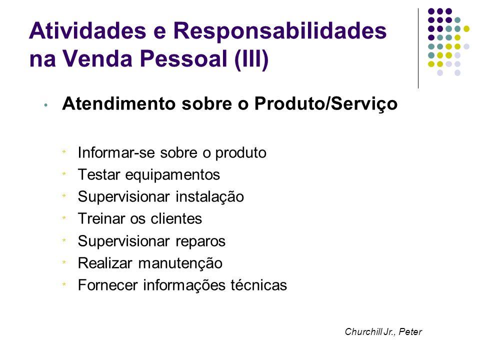 Atividades e Responsabilidades na Venda Pessoal (III) Atendimento sobre o Produto/Serviço * Informar-se sobre o produto * Testar equipamentos * Superv