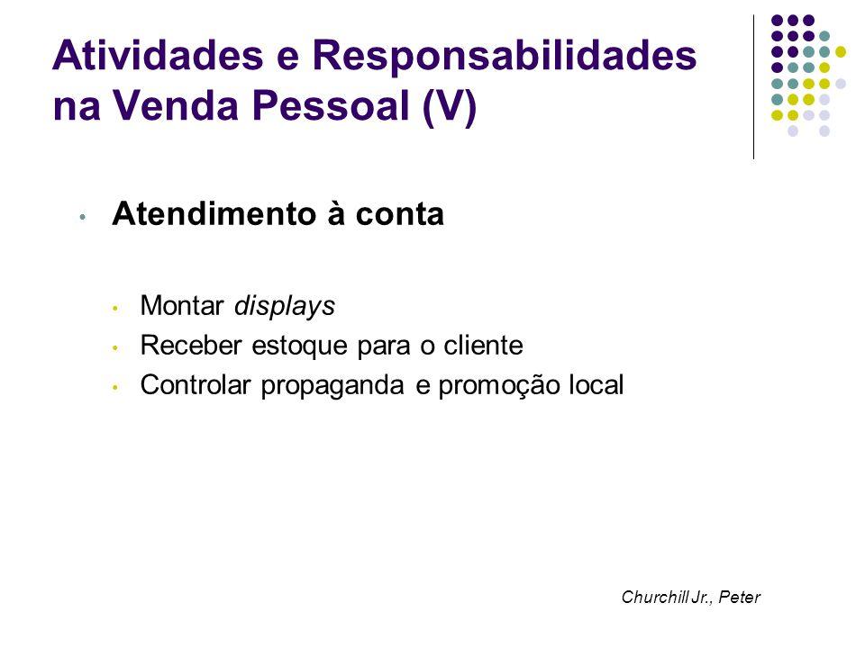 Atividades e Responsabilidades na Venda Pessoal (V) Atendimento à conta Montar displays Receber estoque para o cliente Controlar propaganda e promoção