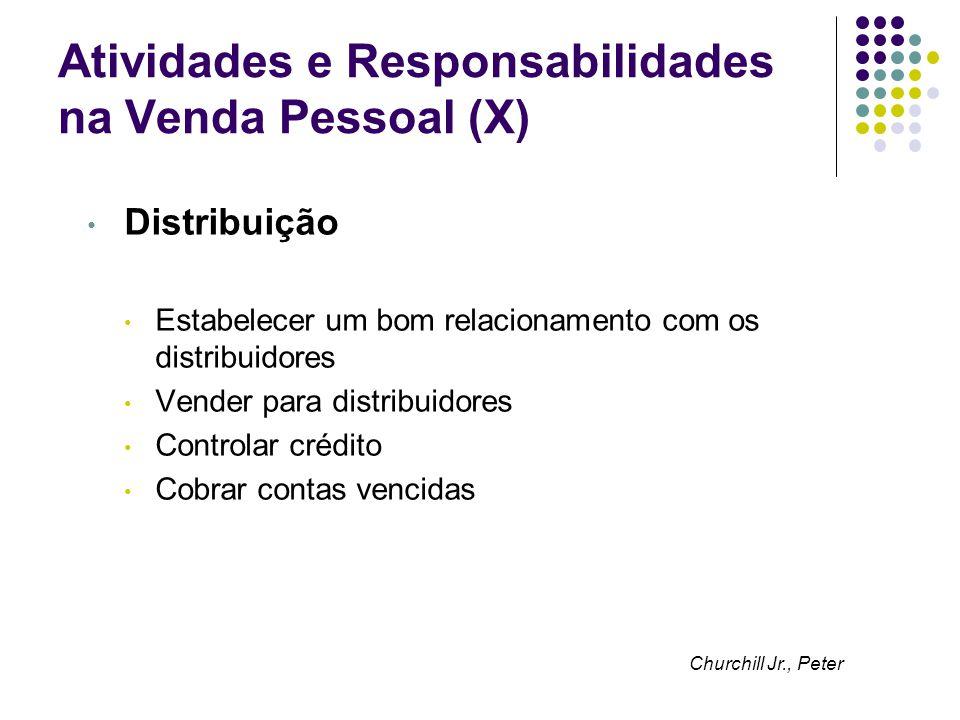 Atividades e Responsabilidades na Venda Pessoal (X) Distribuição Estabelecer um bom relacionamento com os distribuidores Vender para distribuidores Co