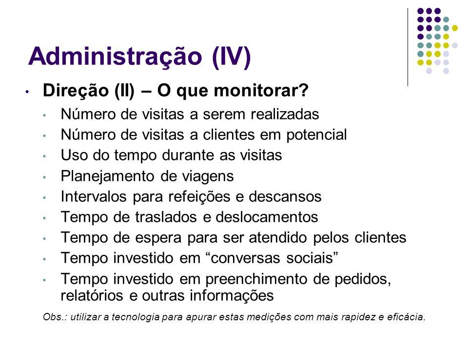 Administração (IV) Direção (II) – O que monitorar? Número de visitas a serem realizadas Número de visitas a clientes em potencial Uso do tempo durante
