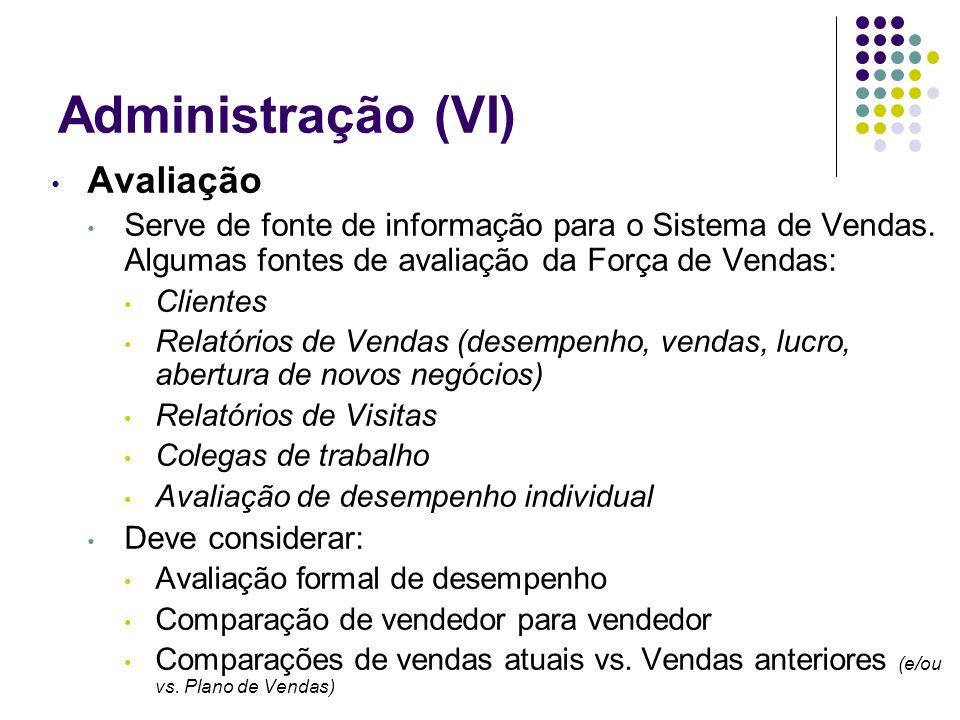 Administração (VI) Avaliação Serve de fonte de informação para o Sistema de Vendas. Algumas fontes de avaliação da Força de Vendas: Clientes Relatório