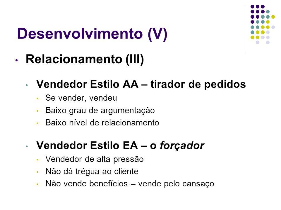Desenvolvimento (V) Relacionamento (III) Vendedor Estilo AA – tirador de pedidos Se vender, vendeu Baixo grau de argumentação Baixo nível de relaciona