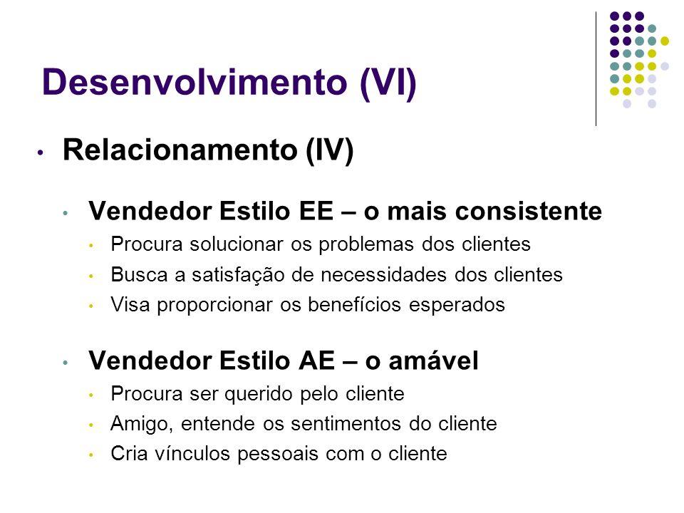 Desenvolvimento (VI) Relacionamento (IV) Vendedor Estilo EE – o mais consistente Procura solucionar os problemas dos clientes Busca a satisfação de ne