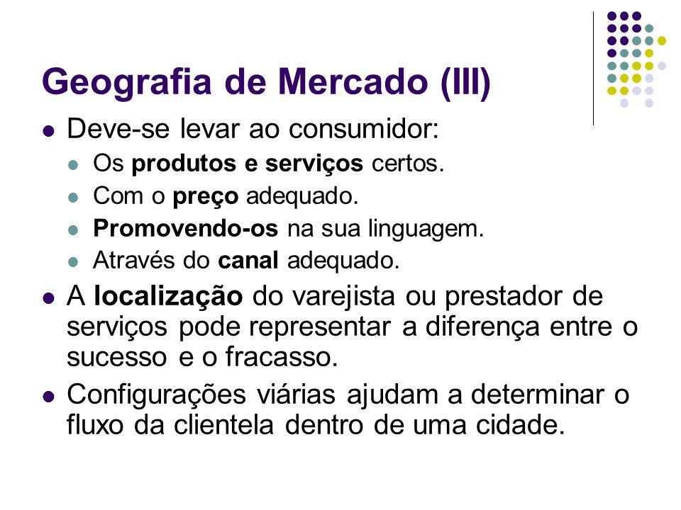 Geografia de Mercado (III) Deve-se levar ao consumidor: Os produtos e serviços certos. Com o preço adequado. Promovendo-os na sua linguagem. Através d