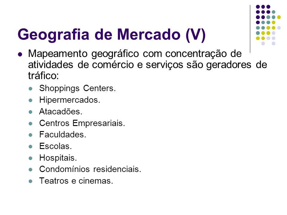 Geografia de Mercado (V) Mapeamento geográfico com concentração de atividades de comércio e serviços são geradores de tráfico: Shoppings Centers. Hipe