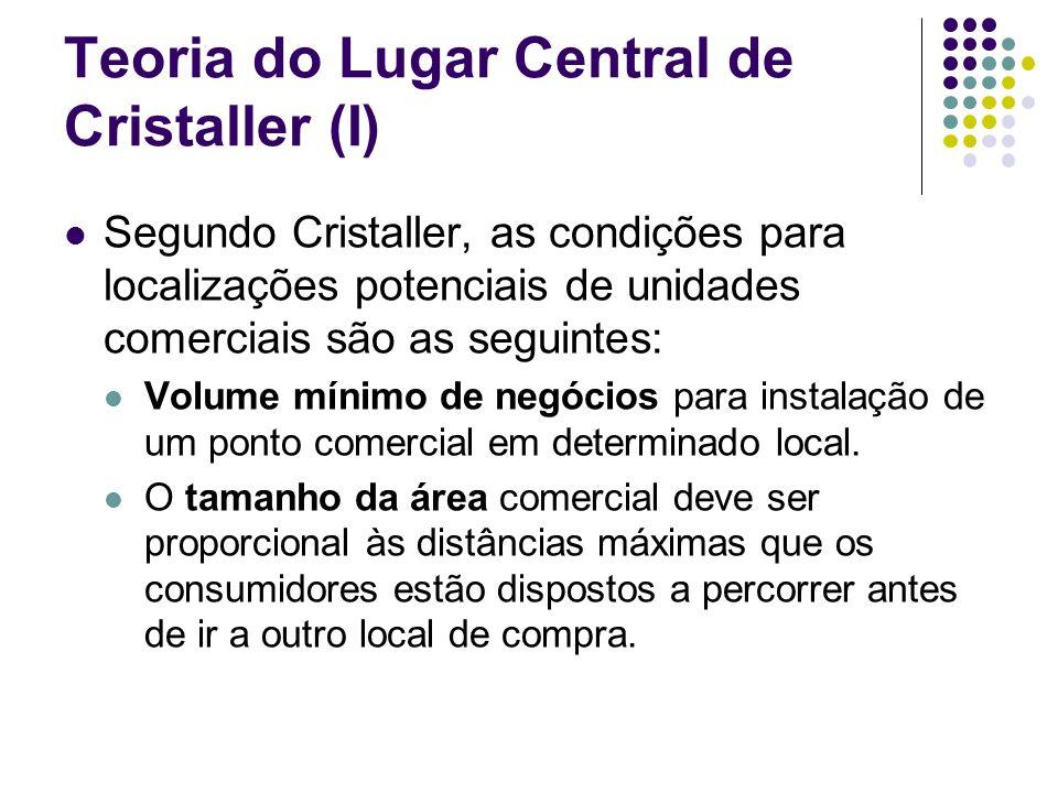 Teoria do Lugar Central de Cristaller (I) Segundo Cristaller, as condições para localizações potenciais de unidades comerciais são as seguintes: Volum