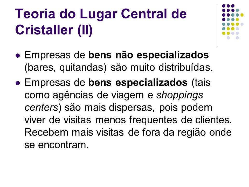 Teoria do Lugar Central de Cristaller (II) Empresas de bens não especializados (bares, quitandas) são muito distribuídas. Empresas de bens especializa