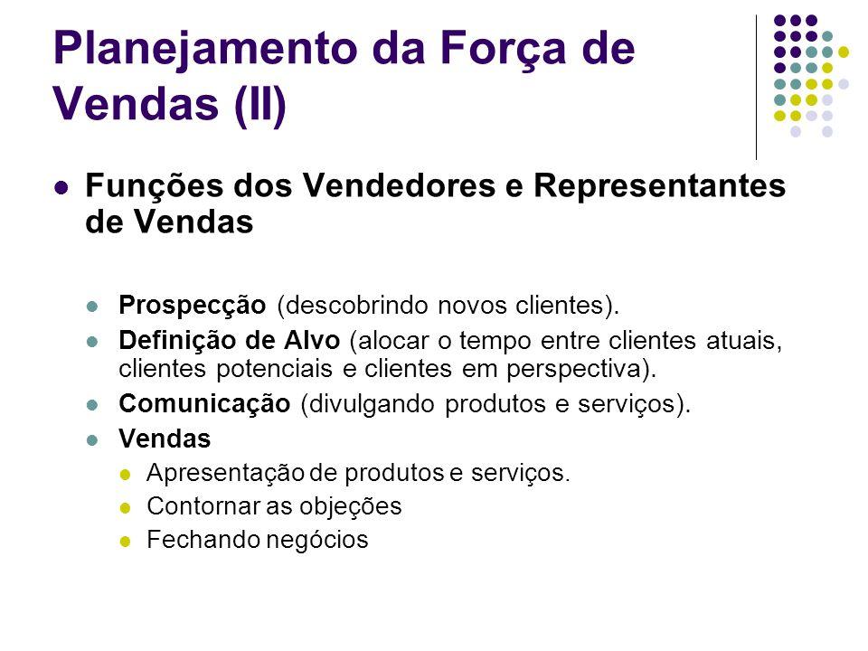 Planejamento da Força de Vendas (II) Funções dos Vendedores e Representantes de Vendas Prospecção (descobrindo novos clientes). Definição de Alvo (alo