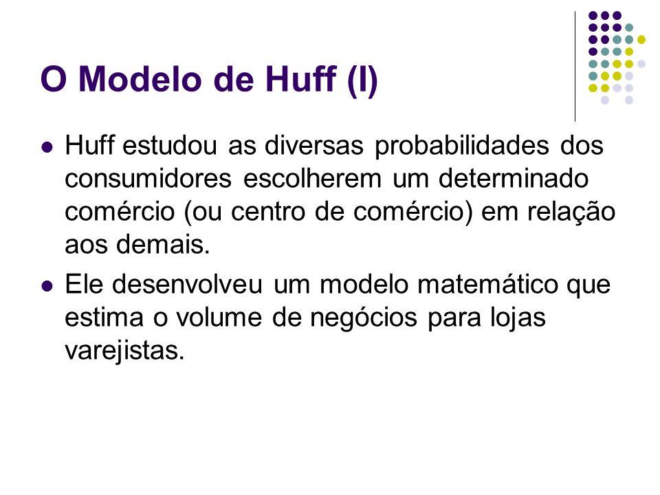 O Modelo de Huff (I) Huff estudou as diversas probabilidades dos consumidores escolherem um determinado comércio (ou centro de comércio) em relação ao