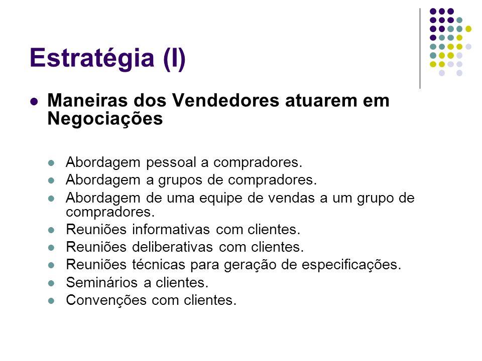Estratégia (I) Maneiras dos Vendedores atuarem em Negociações Abordagem pessoal a compradores. Abordagem a grupos de compradores. Abordagem de uma equ