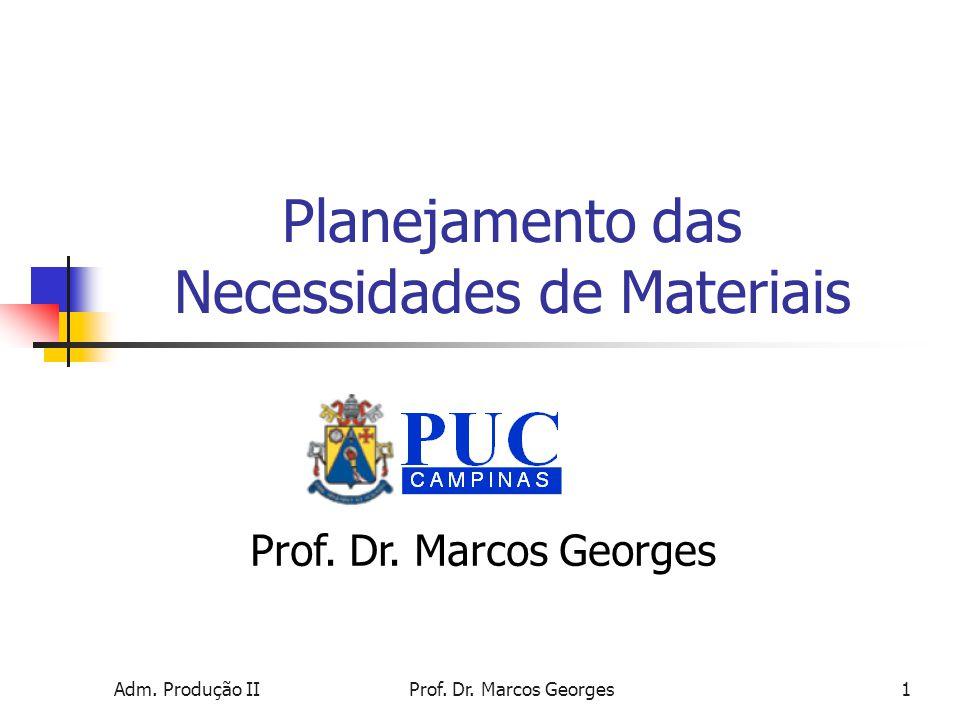 Adm.Produção IIProf. Dr. Marcos Georges1 Planejamento das Necessidades de Materiais Prof.